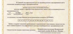 Свидетельство ип о государственной регистрации